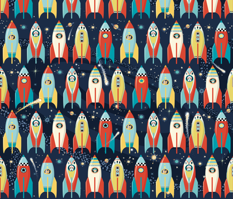Rocket fabric daniellehanson spoonflower for Rocket fabric