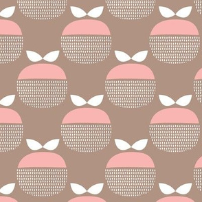 Vintage beige and pink apple fruit pattern