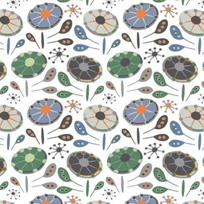 Flying Saucers Flowers Taupe Green