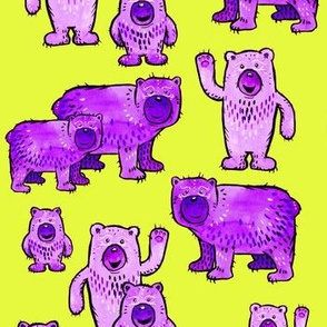 Bears in Purple and Lime Green