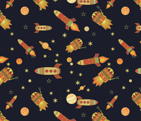 Norwegian rockets fabric pitdesign spoonflower for Rocket fabric