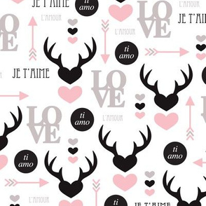 Oh deer valentine love illustration hearts and cupid arrow geometric pattern