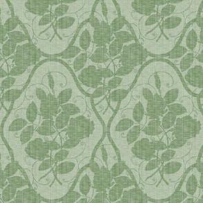 Victorian Rose Ogee ~ Linen on Sylvan Moss Linen Luxe