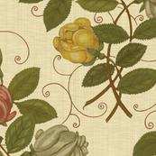 Victorian Roses ~ Trianon Cream Linen Luxe