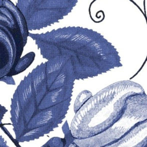 Victorian Roses ~ Blue and White