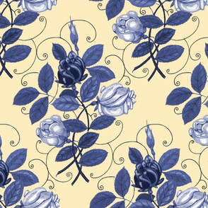 Victorian Roses ~ Blue and White on Trianon Cream