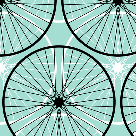 bicycle wheel silhouettes - mint