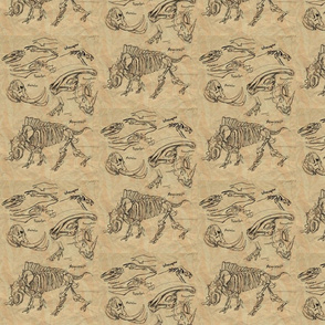 dinosaur sketches white-ed