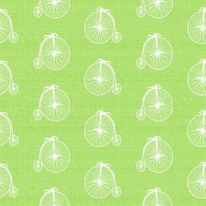 Old Bicycles Lime Linen
