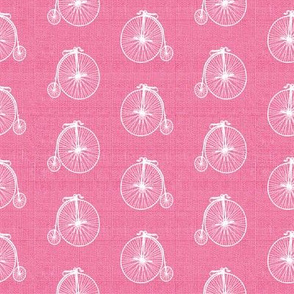 Old Bicycles Rose Pink Linen
