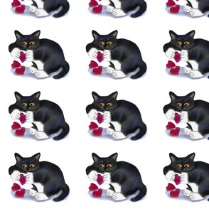 Tuxedo_Kitten_Plays_with_Catnip_Hearts_-_Spoonflower
