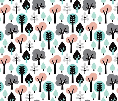 Pastel scandinavian woodland forest tree leaf and nature illustration pattern