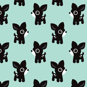 Cute mint kids deer illustration fun scandinavian trend pattern in pastel colors