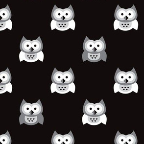 Cute black and white kids owls illustration fun scandinavian trend pattern in gray colors