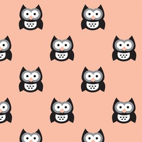 Cute coral kids owls illustration fun scandinavian trend pattern in pastel colors