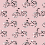 Black and gray hipster bike series quirky dutch theme illustration pattern