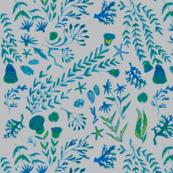 sea flowers grey green blue