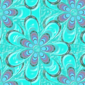 Psychedelic Aqua Flower