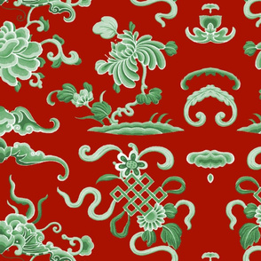 Lotus Island ~ Jade on Turkey Red