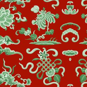 Lotus Island ~ Jade on Turkey Red
