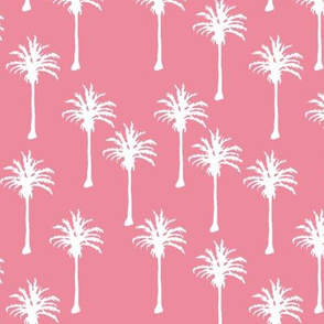 White Palm Trees on Dark Pink