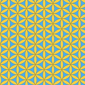 Circles of Life in Golden Yellow and Light Blue