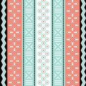 mudcloth - coral mint black white