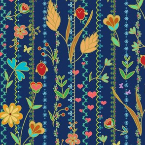 Flower joy with red birds on navy