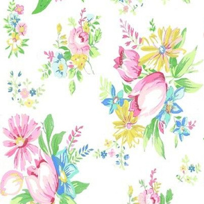 Pink Tulip Floral on White