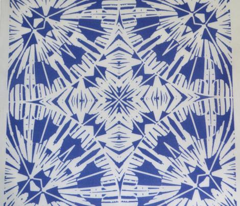 Blue and White Block Print