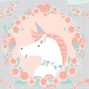 Mint and coral unicorn
