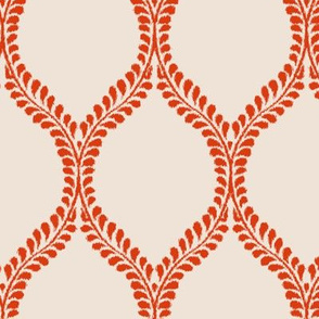 Leaves Custom Dark Coral Ikat