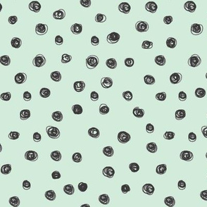 mint and black scribble dots