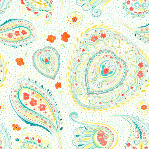 Watercolor Paisley Teal