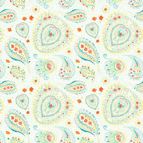 Watercolor Paisley Teal Small Scale