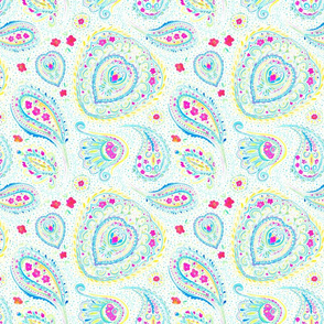 Watercolor Paisley Aqua Small Scale