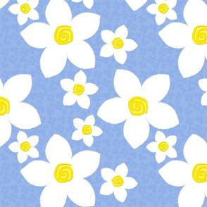 Happy Flowers Applique Blue