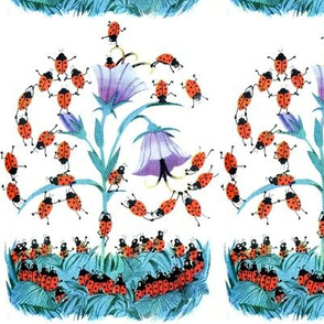 vintage retro kitsch ladybirds beetles insects flowers grass leaves leaf acrobats acrobatics