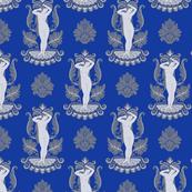 Venus Damask Gray on Intense Blue
