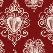 Exvoto hearts on dark marsala