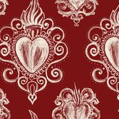 Exvoto hearts on dark marsala