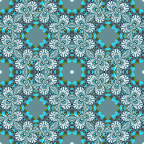 Turquoise and Blue-gray Fractal Trefoil