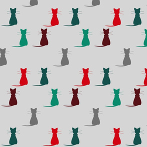 A home without Cats - Gray, Red, Teal