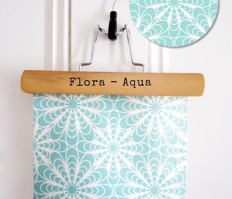 Flora Geometric Floral Aqua