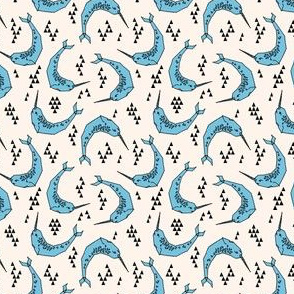 narwhal // cream and blue narwhals ocean nautical