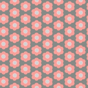 Peachy Pink on Gray Flower Design