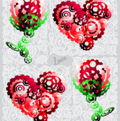 3D Cog hearts and roses with words