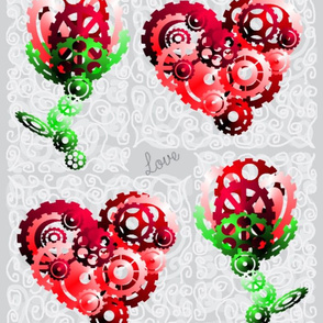 large 3D Cog hearts and roses with words