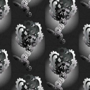 3D Black & White Cog Rose