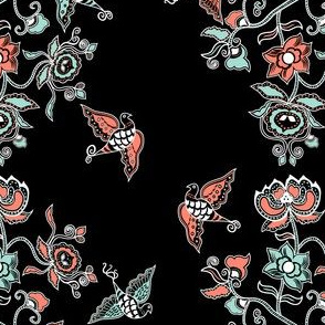 Chinese Pattern in Coral and Mint